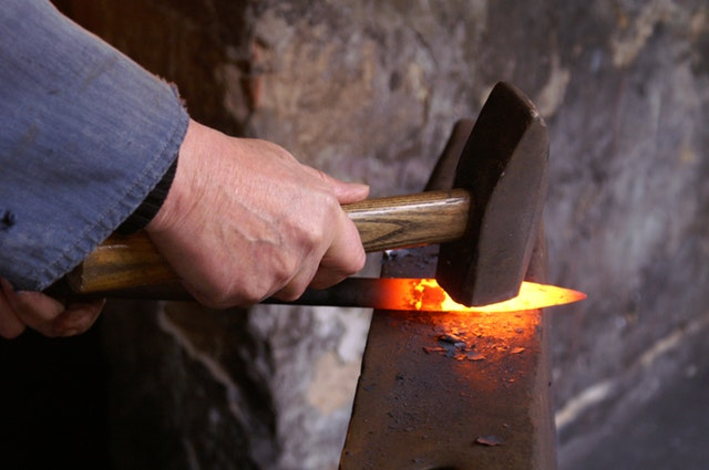 metal being hammered