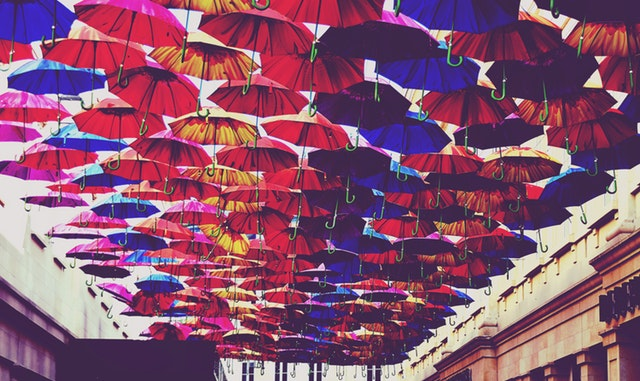 umbrellas on the ceiling