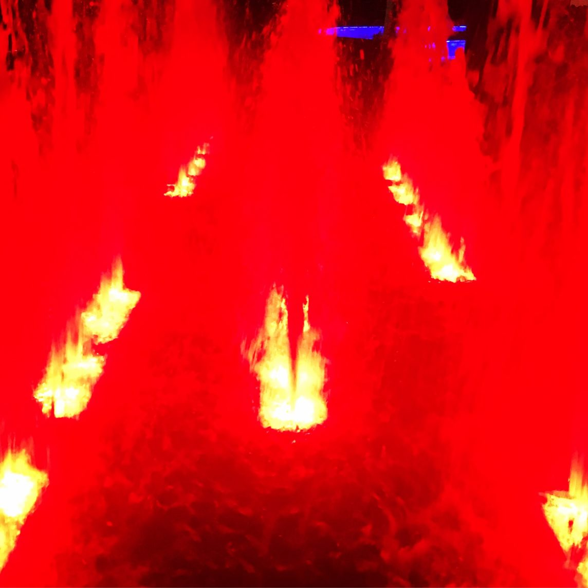red lights in a fountain